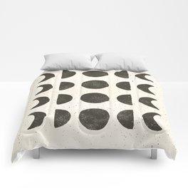 Moon Phases - Black on Cream Comforters