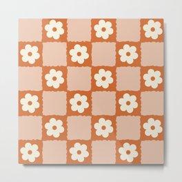 Flower Checker in Burnt Orange  Metal Print