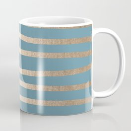 Abstract Drawn Stripes Gold Tropical Ocean Blue Coffee Mug