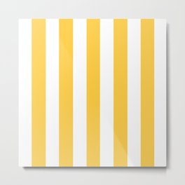 Google Chrome yellow - solid color - white vertical lines pattern Metal Print