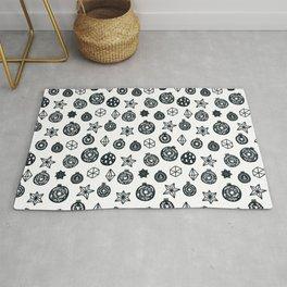 black and white Scandinavian Christmas Prints patterns Rug