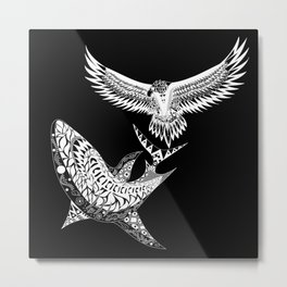The shark and the eagle back in black Metal Print