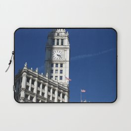Chicago Clock Tower, American Flags Laptop Sleeve
