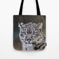 snow leopard Tote Bags featuring Snow Leopard by Robin Design