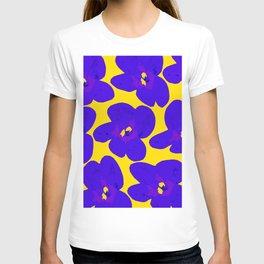 Blue Retro Flowers Yellow Background #decor #society6 #buyart T-shirt