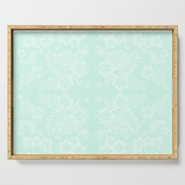 Celadon Mint Green Pastels Tropical Hibiscus Flowers Pattern Serving Tray