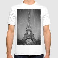 Vintage Eiffel Tower White MEDIUM Mens Fitted Tee