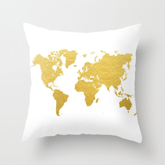 Gold world map throw pillow by bysamantha society6 gumiabroncs Gallery