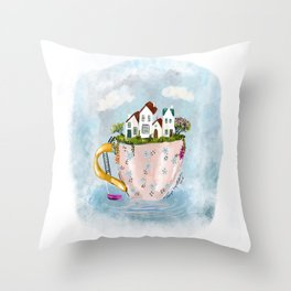 Pink Cup island Throw Pillow