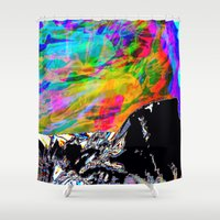 northern lights Shower Curtains featuring Northern Lights  by Sara Naomi Goodman