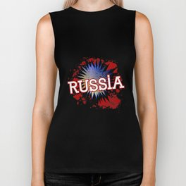 Russia In Red White And Blue Cartoon Exclamation Biker Tank