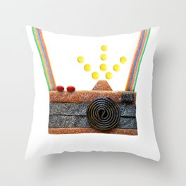 Candied Camera Throw Pillow