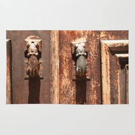 Antique wooden door with hand knockers Rug