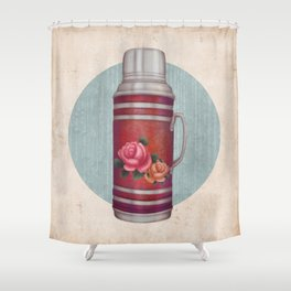 Retro Warm Water Jar Shower Curtain