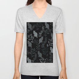 Watercolor Floral and Cat III Unisex V-Neck