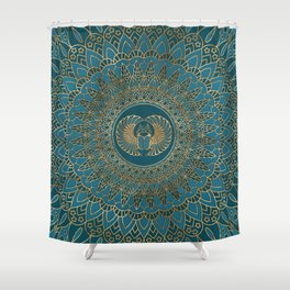 Egyptian Scarab Beetle Gold on Teal Leather Shower Curtain