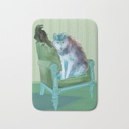 animals in chars #3 The Wolf and the Raven Bath Mat