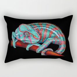 Panther Chameleon Turquoise Blue & Coral Red Rectangular Pillow