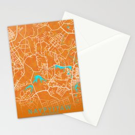 Naypyitaw, Myanmar, Gold, Blue, City, Map Stationery Cards