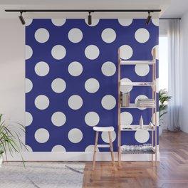 Geometric Candy Dot Circles - White on Navy Blue Wall Mural