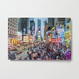Times Square Tourists Metal Print