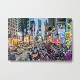 Times Square Tourists Metal Print