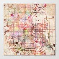 denver Canvas Prints featuring Denver by MapMapMaps.Watercolors