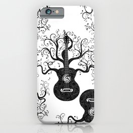 Guitar silhouette with tree branches and music notes iPhone Case