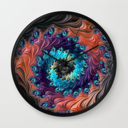 Grand Spiral fractal by Amanda Martinson Wall Clock