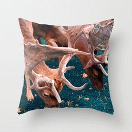 Deers, Breakfast in the grass Throw Pillow