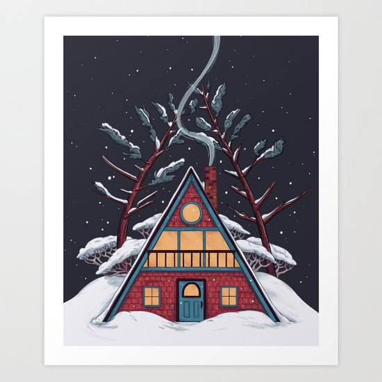 A Winter House Art Print