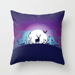 Forest Animals Gathering in the Moonlight Throw Pillow