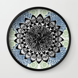 Light Green, Grey, and Black Muted Mandala Pattern Wall Clock