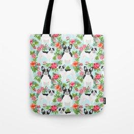 French Bulldog hawaiian print dog breed custom art by pet friendly frenchies Tote Bag