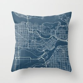Burnaby Blueprint Street Map, Burnaby Colour Map Prints Throw Pillow