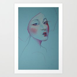 Miss Blue Art Print