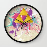 triforce Wall Clocks featuring Splash Triforce by Brittany