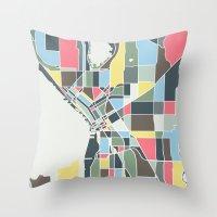 seattle Throw Pillows featuring Seattle. by Studio Tesouro