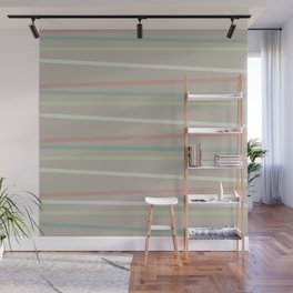 Khaki Green Line Pattern Wall Mural