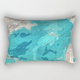 Vintage Blue Transatlantic Mapping Rectangular Pillow