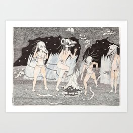 Aquelarre de cuatro chicas con cráneos y hoguera Art Print