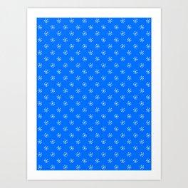 White on Brandeis Blue Snowflakes Art Print