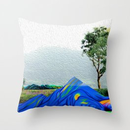 Colorful rocks throw trees illustration Throw Pillow