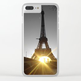 Eiffel tower Paris black and white with color GOLD Clear iPhone Case