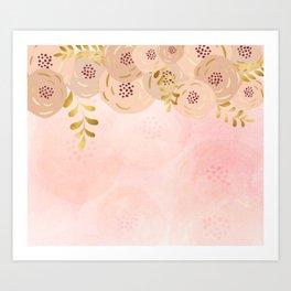 Misty rose gold floral Art Print