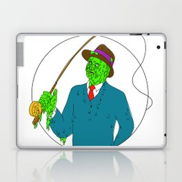 Mobster Fisherman Fly Rod Reel Grime Art Laptop & iPad Skin