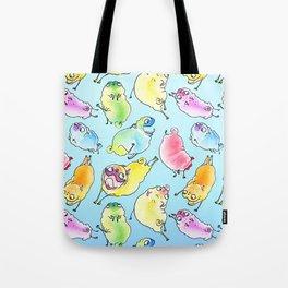 BLUE Rainbow Pugs Pattern Tote Bag