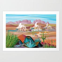 Power Generating Station in Desert Art Print