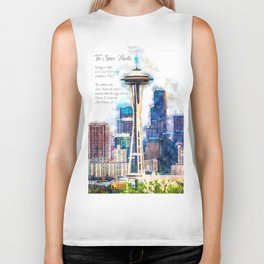 Space Needle, Watercolor Biker Tank