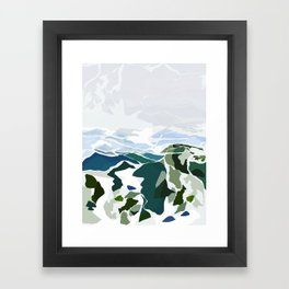 green mountains Framed Art Print